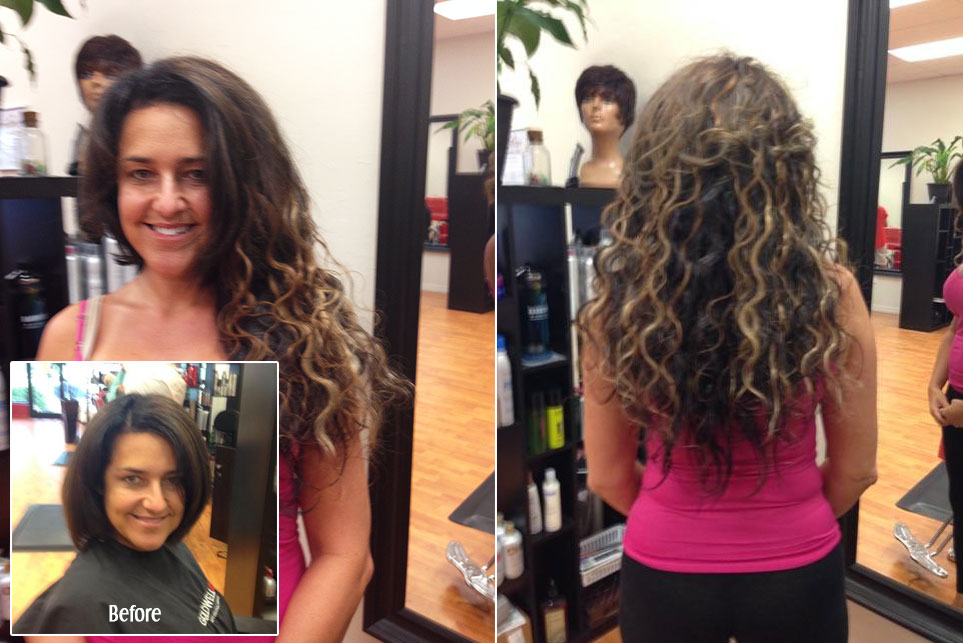 Before and After Hair Extension Curly Brunette