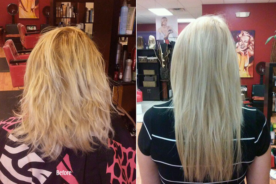 Before and After Hair Extension and Hair Treatments in Blonde