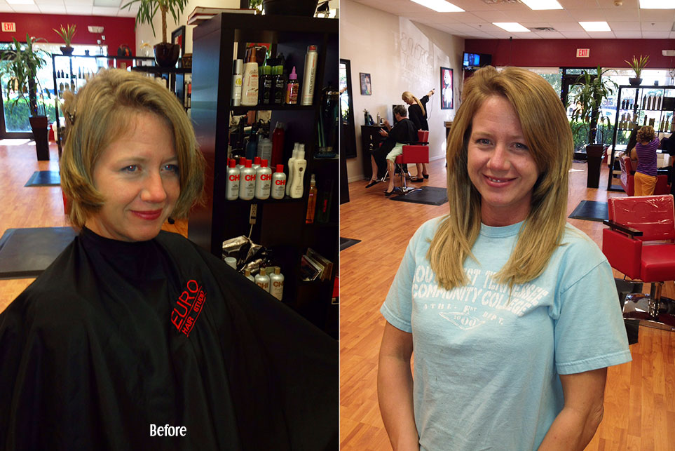 Before and After Hair Extensions in Blonde