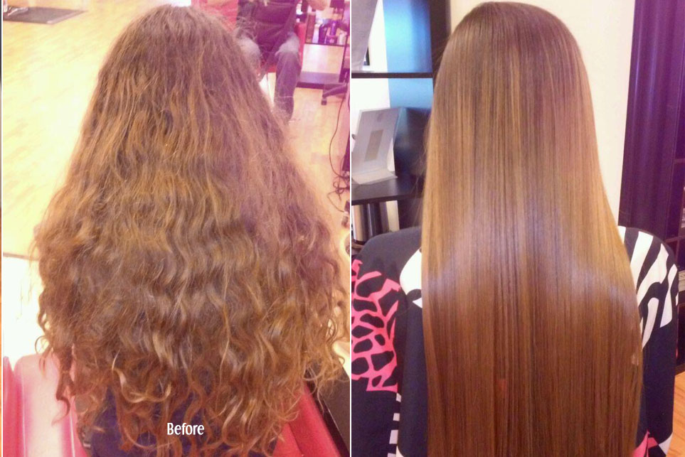 Before and After Keratin Hair Treatment in Curly Red Head