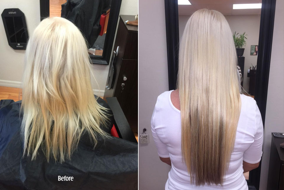 Before and After Keratin and Hair Extensions in Blonde