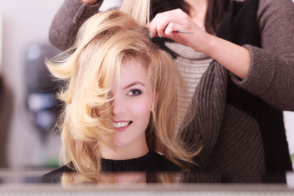 Salon Color, Cut and Style in Blonde Woman