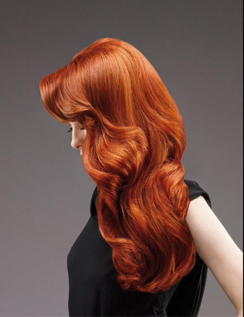 Hairdreams Long Red Head Body Wave Style Profile View