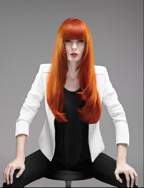 Hairdreams Long Red Head Straight Style